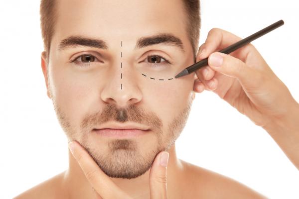 man preparing for eye surgery